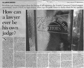 How can a lawyer ever be his own judge - Sarah O'Neill SCC Scotsman 6 September 1999 2